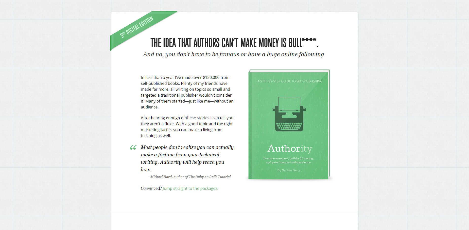 Landing page of Authority by Nathan Barry