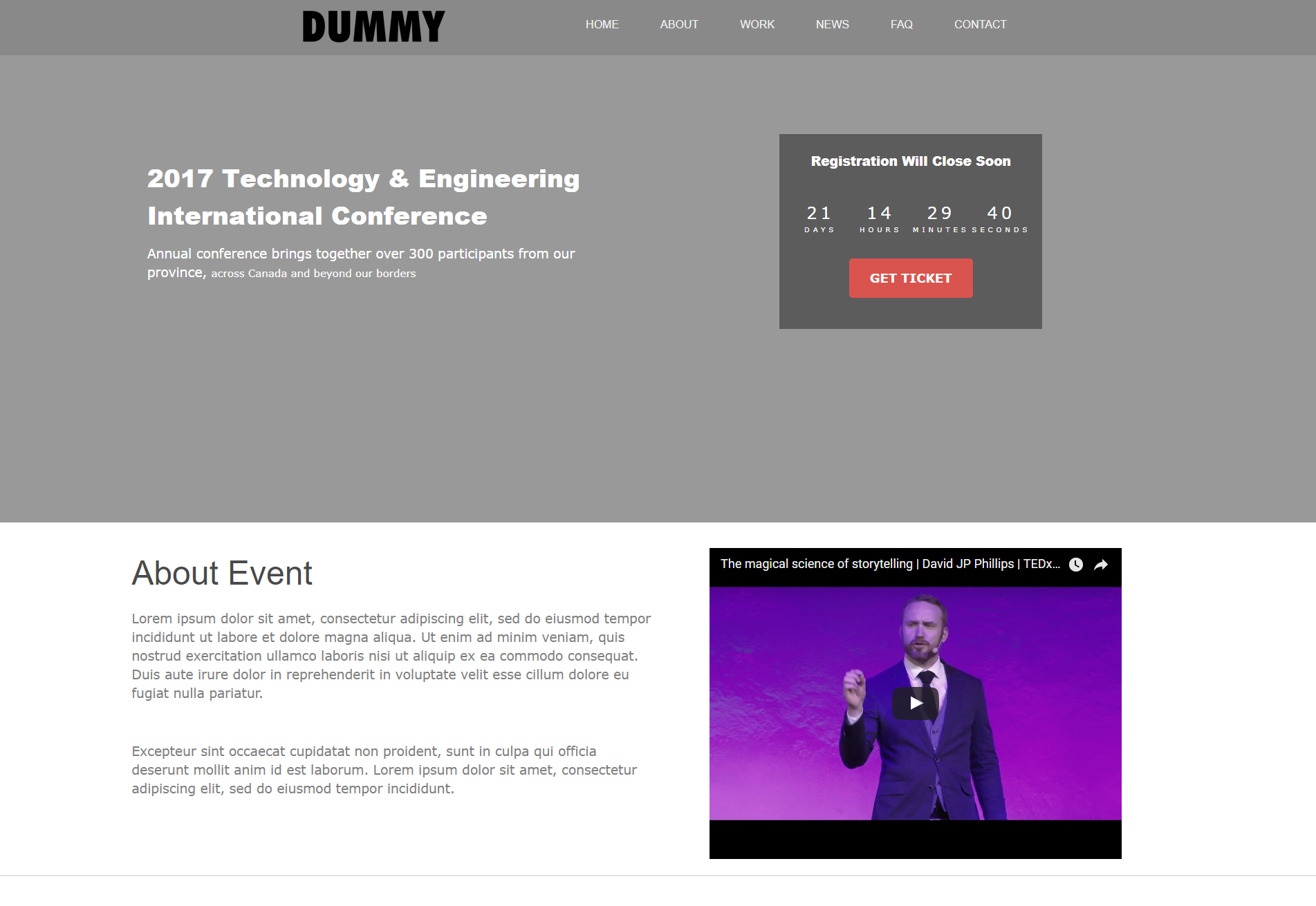Landing Page Templates - Event landing page template free