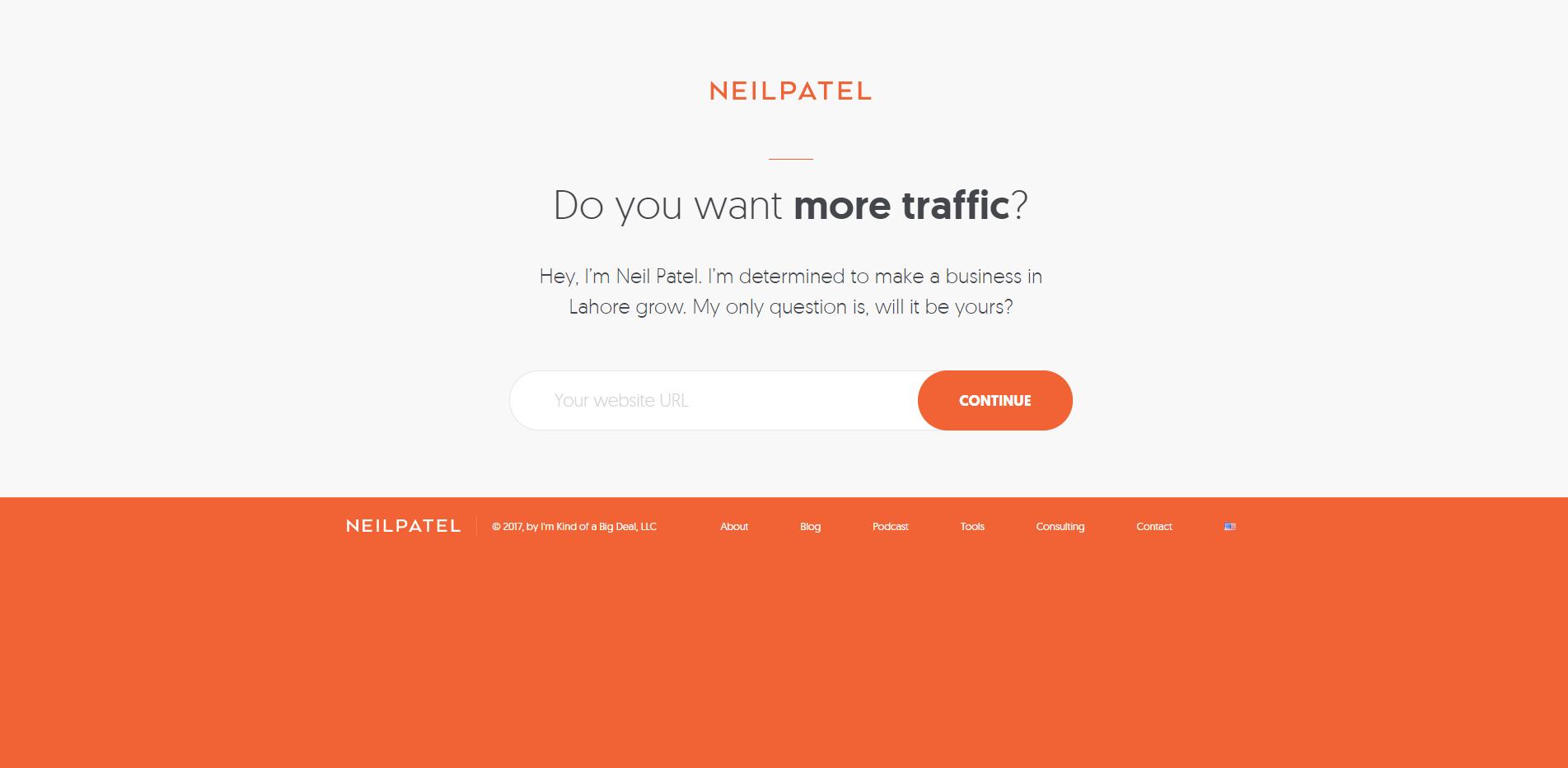 Neil Patel Click Through Landing Page step 1