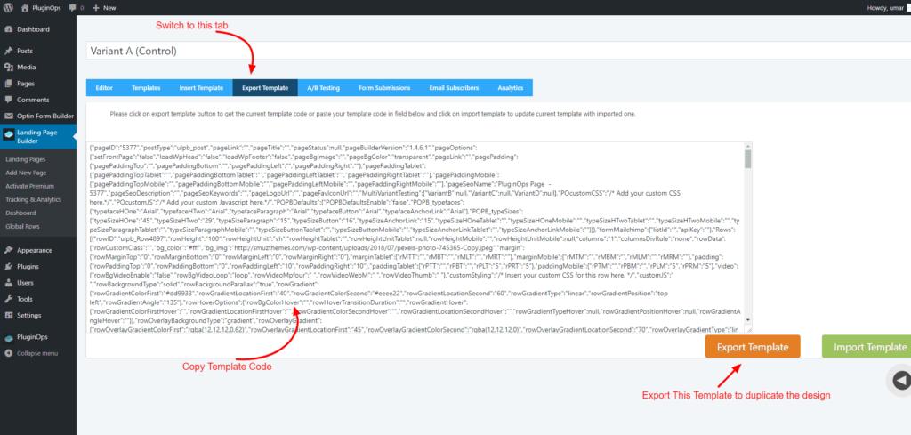 Copy export code f